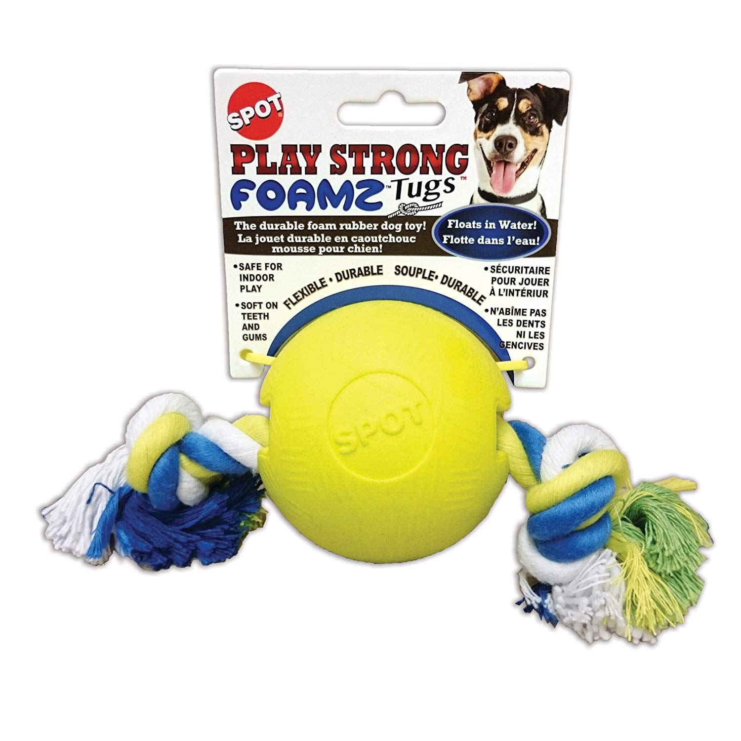 Ethical Pet Spot Play Strong Foamz Tugs Dog Toy, 3.25-in