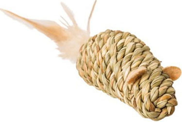 Ethical Pet Spot Seagrass Mouse with Feathers Cat Toy, 3,5-in