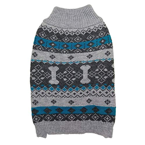 Ethical Fashion Pet Nordic Knit Dog Sweater, Gray, Small
