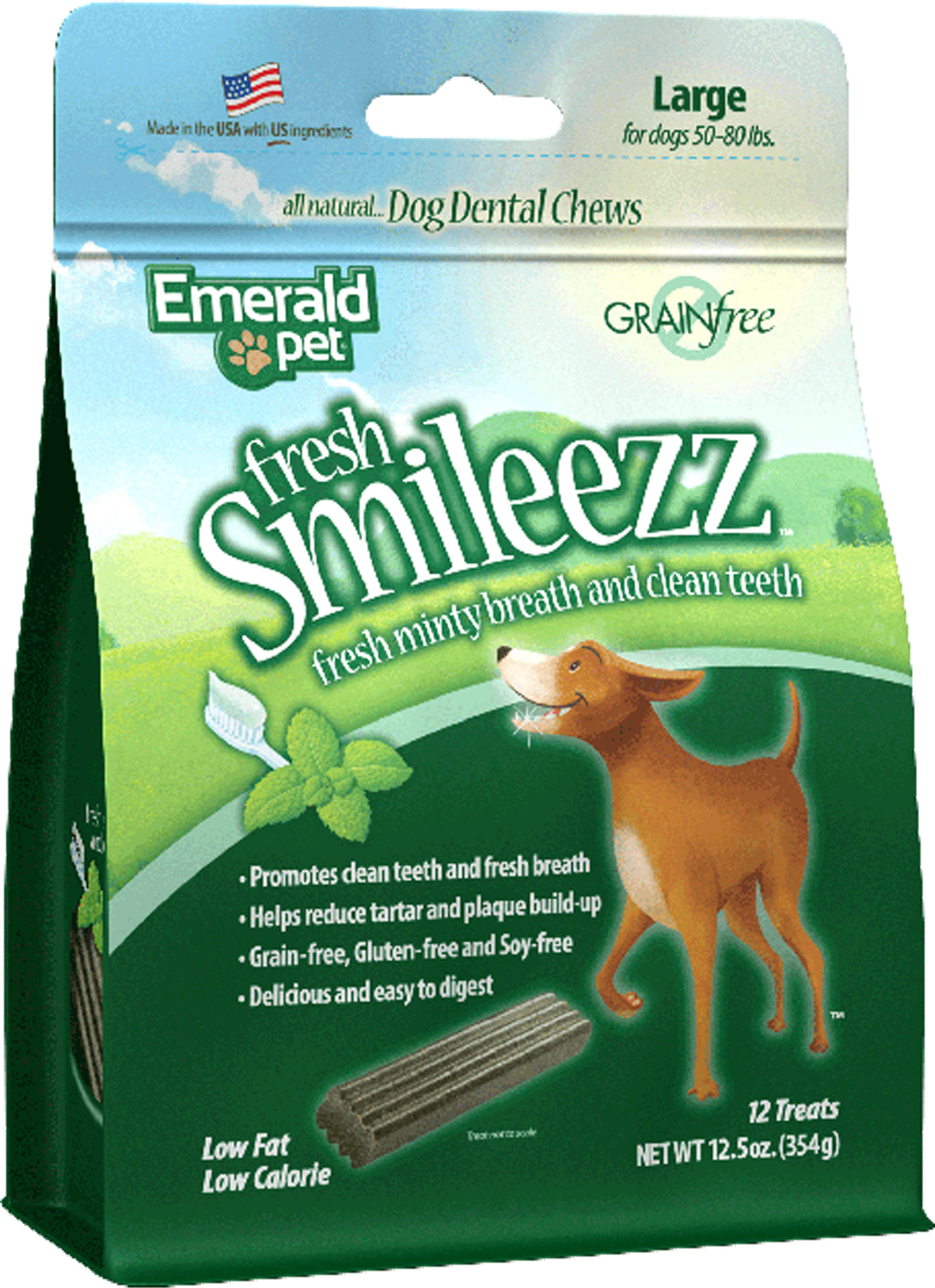Emerald Pet Fresh Smileezz Grain-Free Large Dental Dog Treats, 12.5-oz
