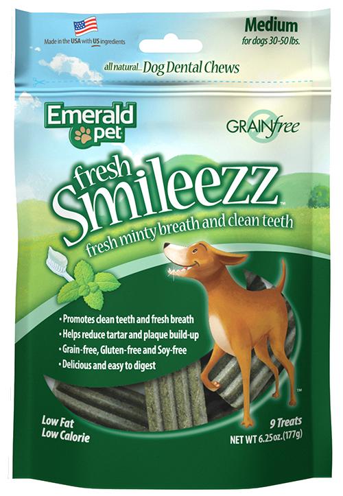 Emerald Pet Fresh Smileezz Grain-Free Medium Dental Dog Treats, 6.25-oz