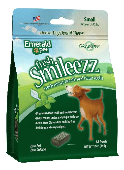 Emerald Pet Fresh Smileezz Grain-Free Small Dental Dog Treats, 12-oz