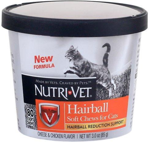 Nutri-Vet Hairball Formula Cheese & Chicken Flavor Cat Soft Chews, 3-oz
