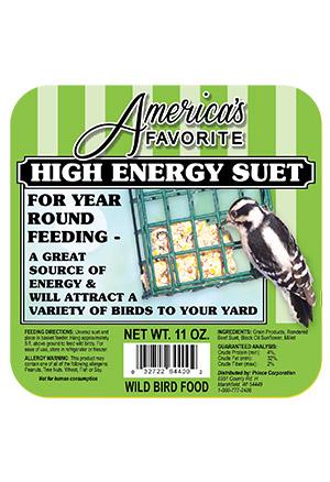 America's Favorites Hi-Energy Suet Wild Bird Food, 11-oz