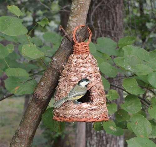 Songbird Essentials Hanging Grass Roosting Pocket Hive Bird House