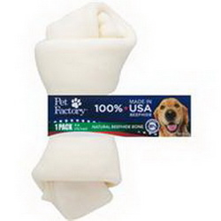 Pet Factory Knotted Rawhide Bone Dog Treats, 4-5-in