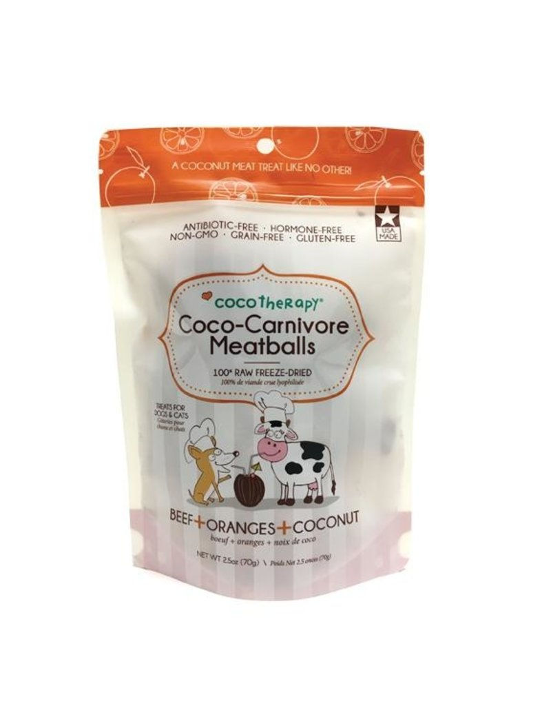 Coco Therapy Coco-Carnivore Meatballs Freeze-Dried Raw Dog Treats, Beef, Orange, and Coconut Flavor, 2.5-oz bag