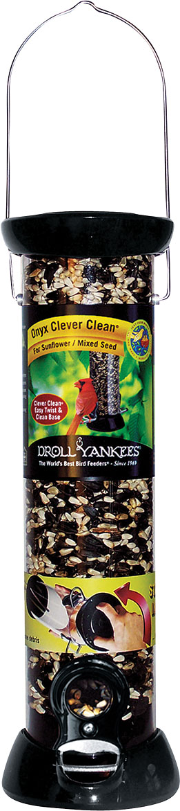 Droll Yankees Onyx Clever Clean Sunflower Bird Feeder, Black, 12-in