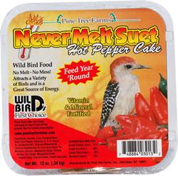 Pine Tree Farms Never Melt Hot Pepper Suet Cake Wild Bird Food, 12-oz