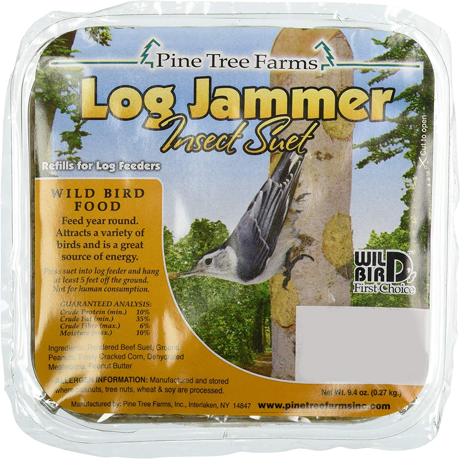 Pine Tree Farms Log Jammer Insect Suet Wild Bird Food, 9.4-oz