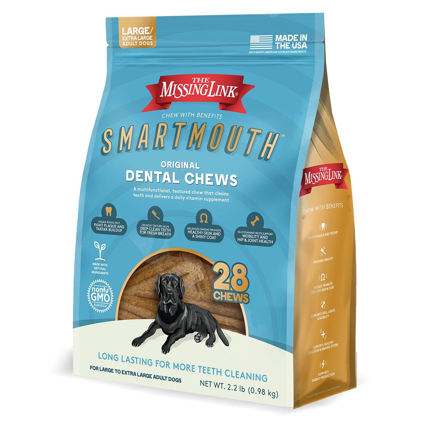 The Missing Link Smartmouth Large/Extra Large Dental Dog Chews, 14-count