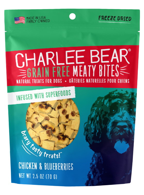 Charlee Bear Grain-Free Meaty Bites Natural Dog Treats, Chicken & Blueberries, 5-oz bag