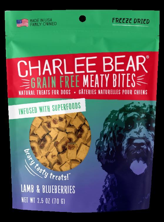 Charlee Bear Grain-Free Meaty Bites Natural Dog Treats, Lamb & Blueberries, 2.5-oz bag