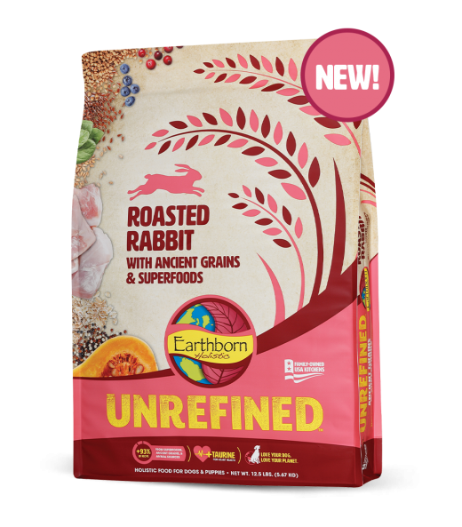 Earthborn Unrefined Dry Dog Food with Ancient Grains & Superfoods, Roasted Rabbit, 4-lb bag