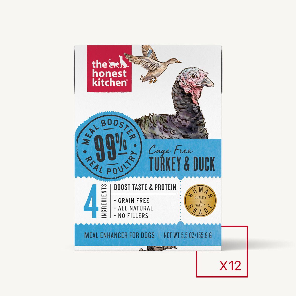 Honest Kitchen Grain-Free 99% Cage-Free Turkey & Duck Wet Dog Food Topper, 5.5-oz box