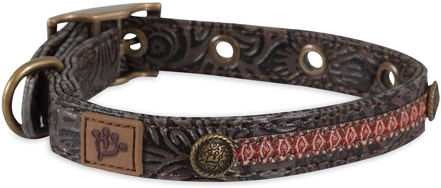 MuttNation Tooled Leather Ikat Ribbon Custom Fit Dog Collar, Small