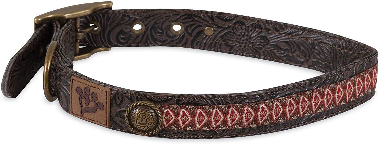 MuttNation Tooled Leather Ikat Ribbon Custom Fit Dog Collar, Large