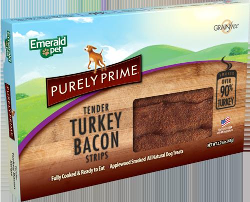 Emerald Pet Purely Prime Original Turkey Bacon Strips Dog Treats, 2.25-oz box