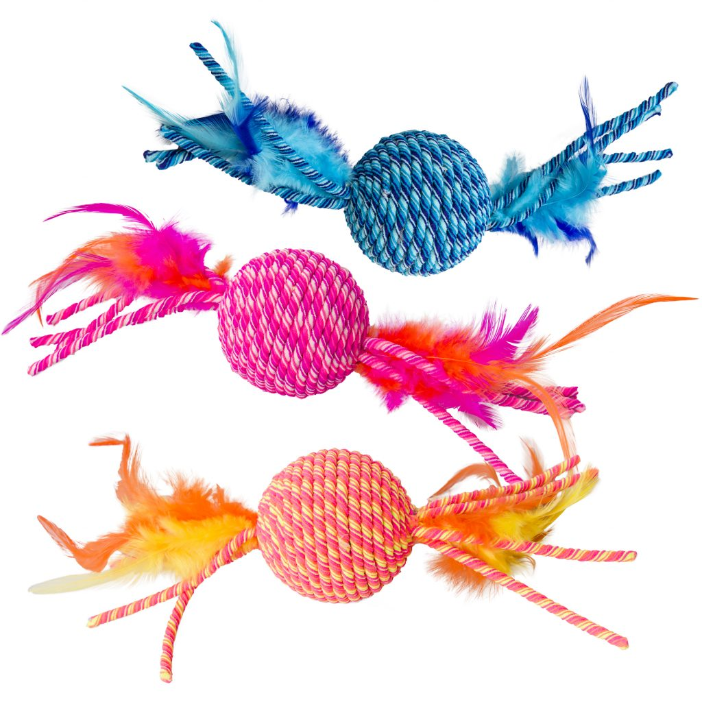 Ethical Pet Spot Elasteeez Ball with Feathers Cat Toy, Assorted Colors, Assorted Colors