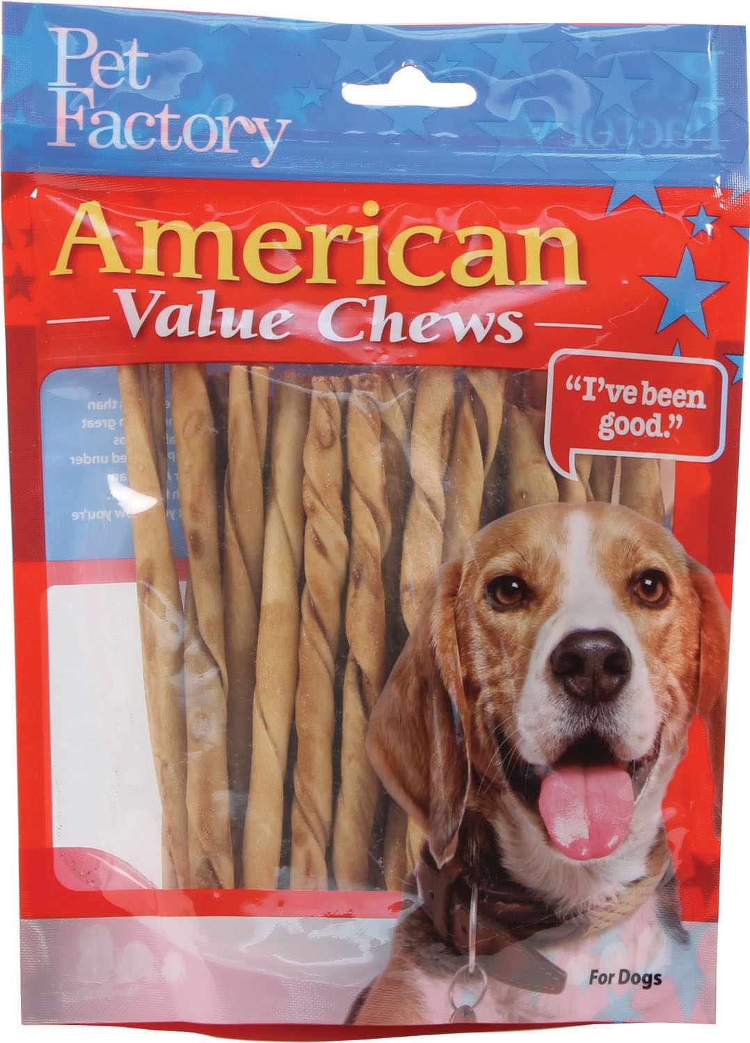 Pet Factory American Beefhide Chicken Flavored Twist Sticks Dog Treats, 5-in, 25-pk