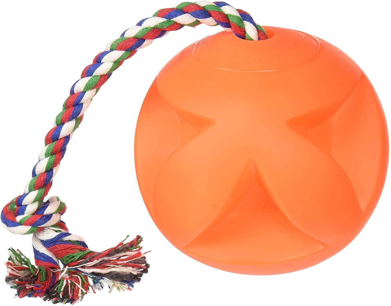 Hueter Toledo Soft-Flex Toss-N-Clutch Ball Rope Dog Toy, 4.5-in