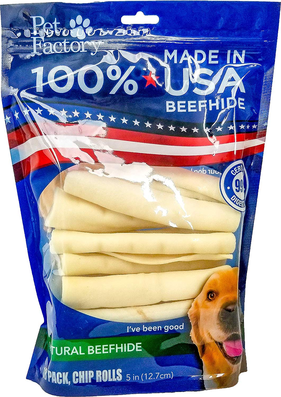 Pet Factory USA Beefhide Chip Rolls Dog Treats, 5-in, 18-pk