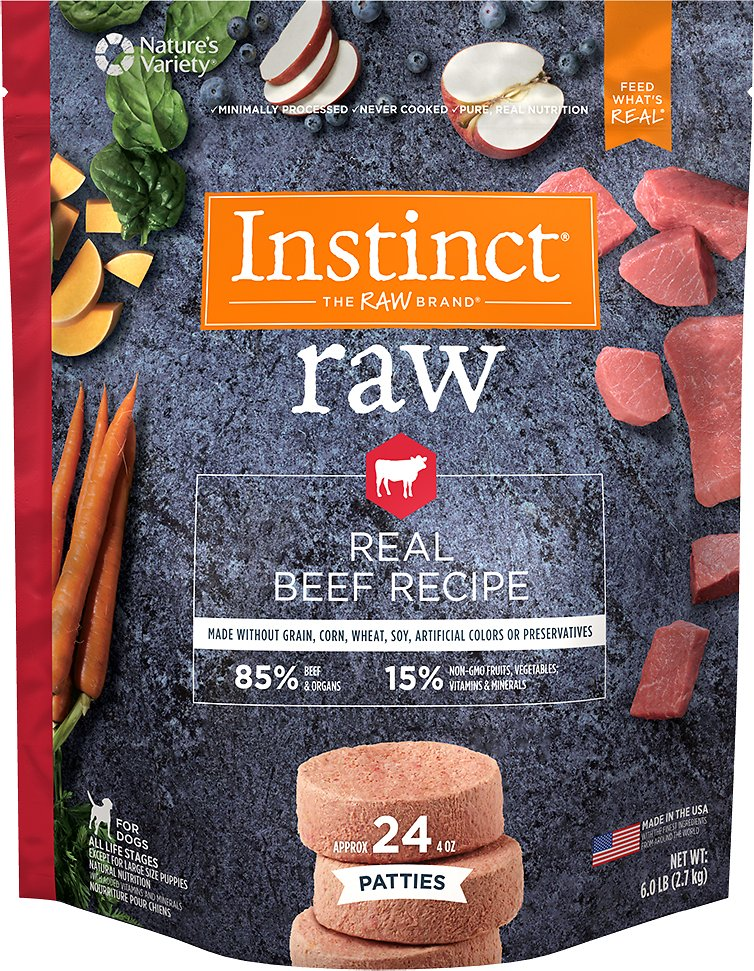 Instinct by Nature's Variety Frozen Raw Patties Grain-Free Real Beef Recipe Dog Food, 6-lb