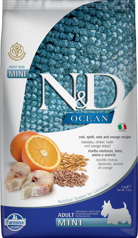 Farmina Natural & Delicious Ocean Codfish & Orange Ancestral Grain Mini Adult Dry Dog Food, 5.5-lb bag