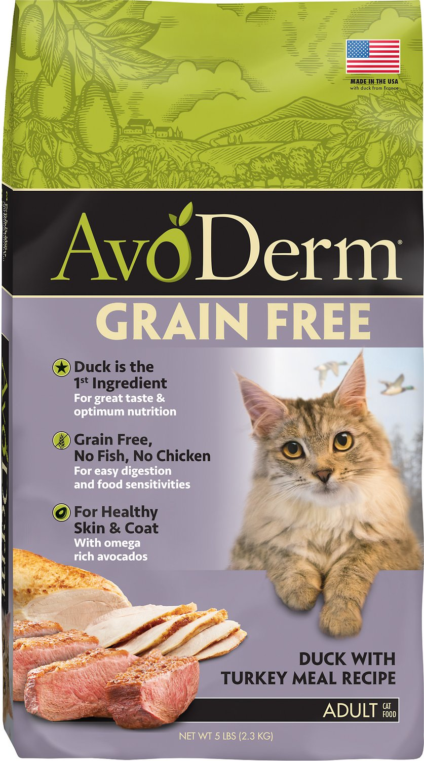 AvoDerm Grain-Free Duck with Turkey Meal Dry Cat Food, 5-lb