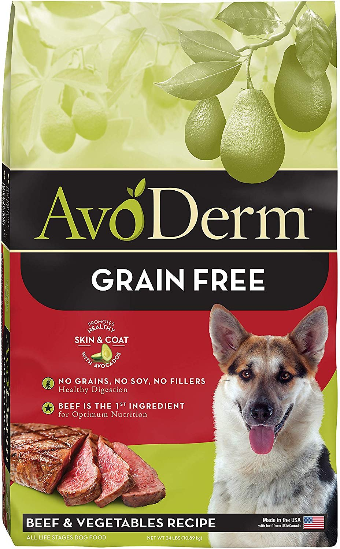 AvoDerm Natural Grain-Free Beef & Vegetables Formula Dry Dog Food, 24-lb