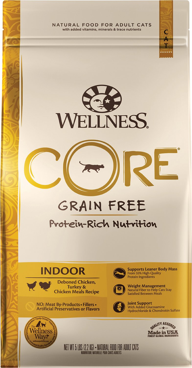 Wellness Core Grain-Free Indoor, Chicken, Turkey, & Chicken Meals Recipe Dry Cat Food, 5-lb