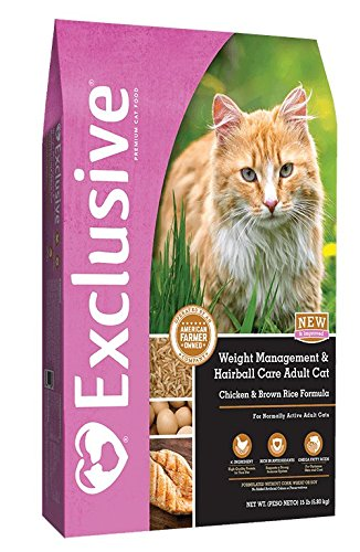 PMI Nutrition Exclusive Weight Management & Hairball Care Chicken & Brown Rice Formula Adult Dry Cat Food, 5-lb