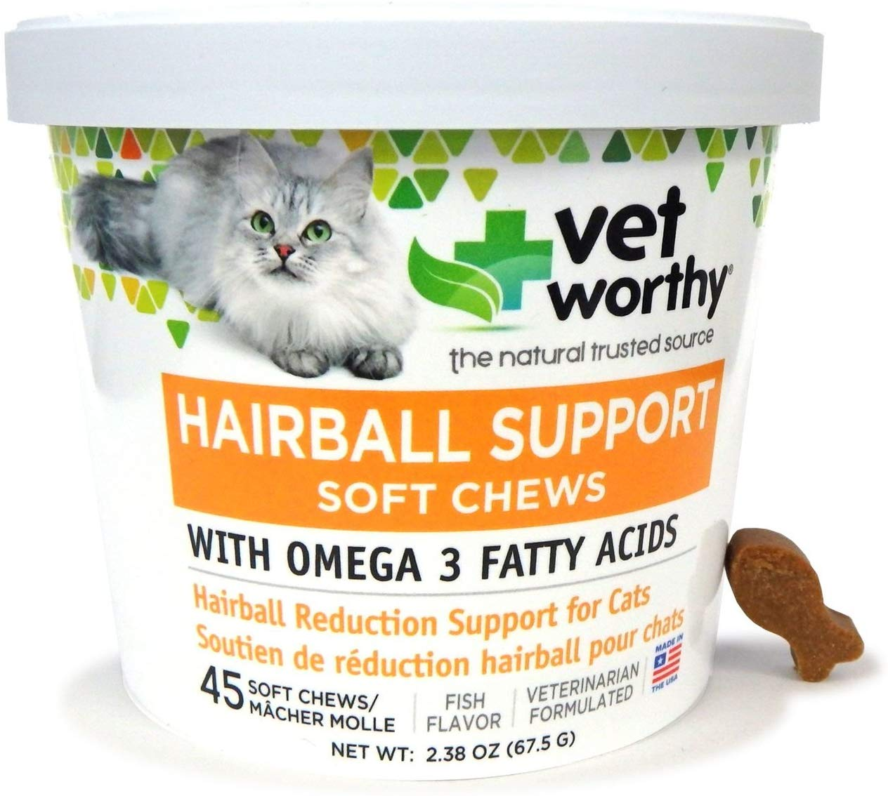 Vet Worthy Hairball Support Cat Soft Chews, 45-count