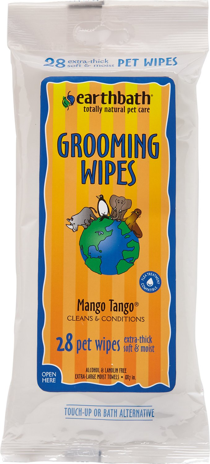 Earthbath Mango Tango Grooming Wipes for Dogs & Cats, 28-count