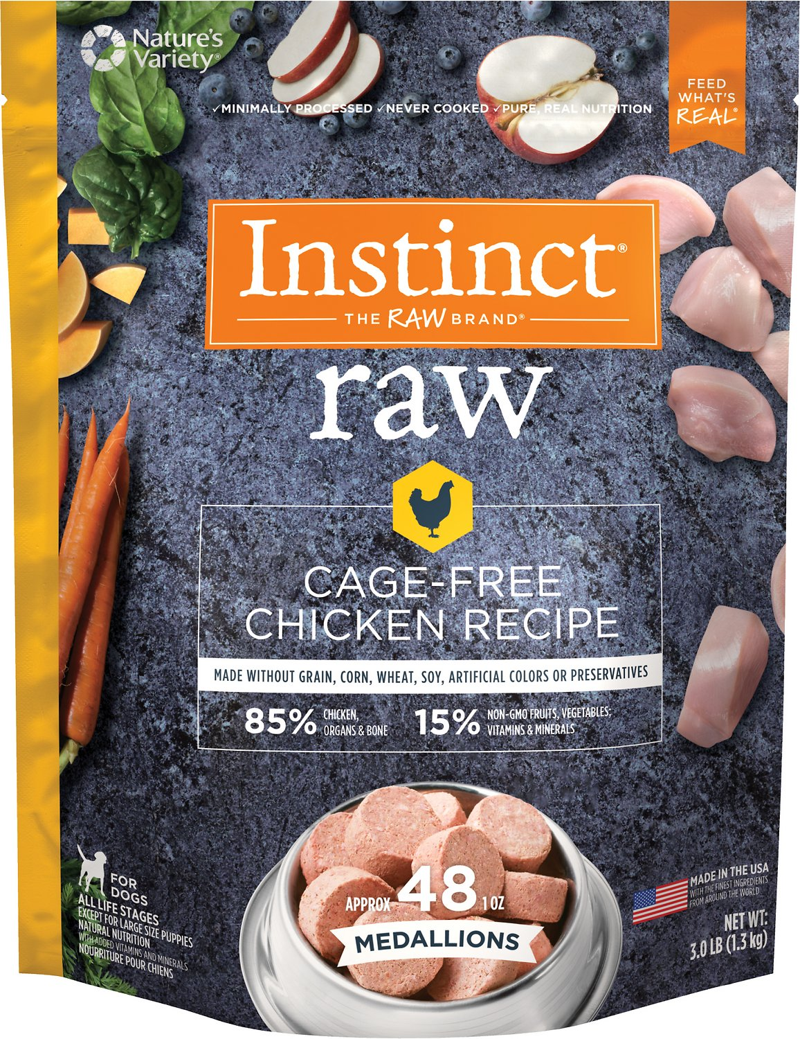 Instinct by Nature's Variety Raw Medallions Grain-Free Cage-Free Chicken Recipe Frozen Dog Food, 3-lb