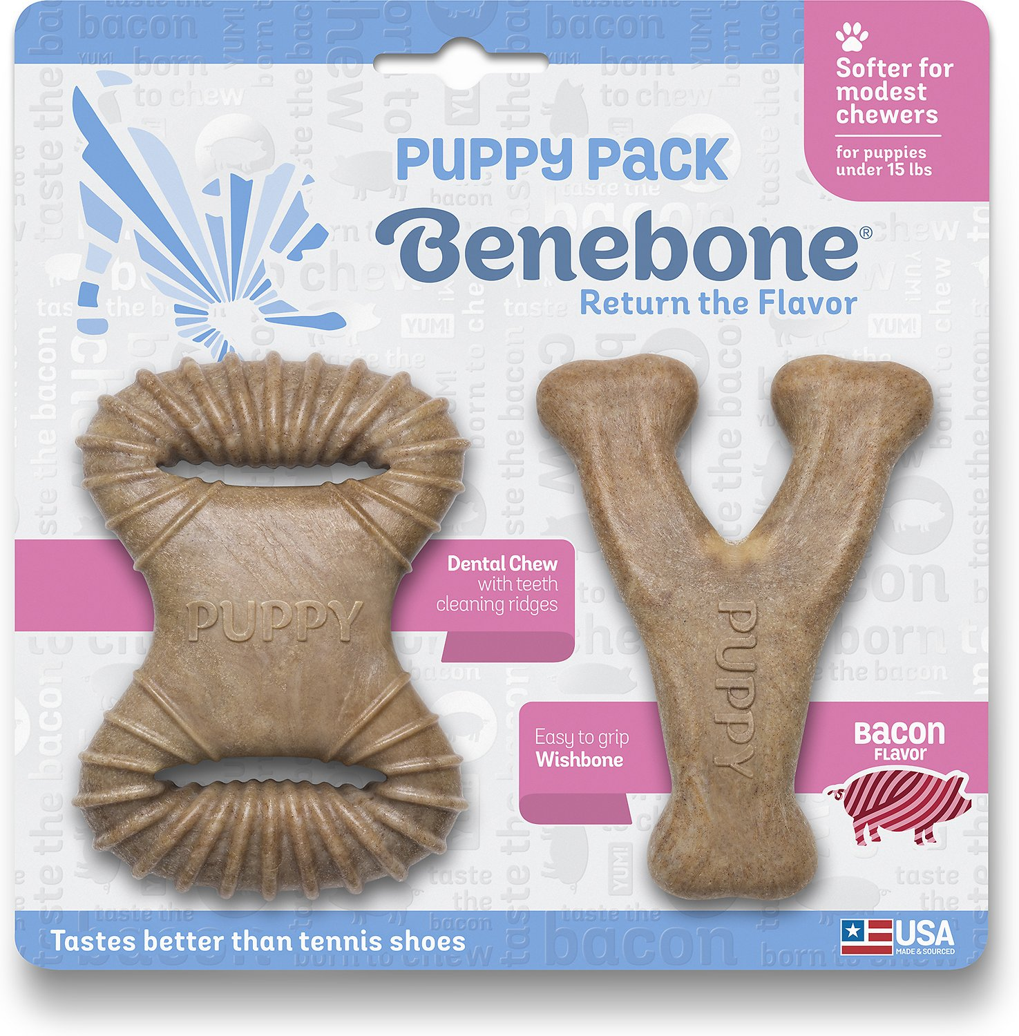 Benebone Puppy Pack Bacon Flavor Puppy Chew Toy, 2-count