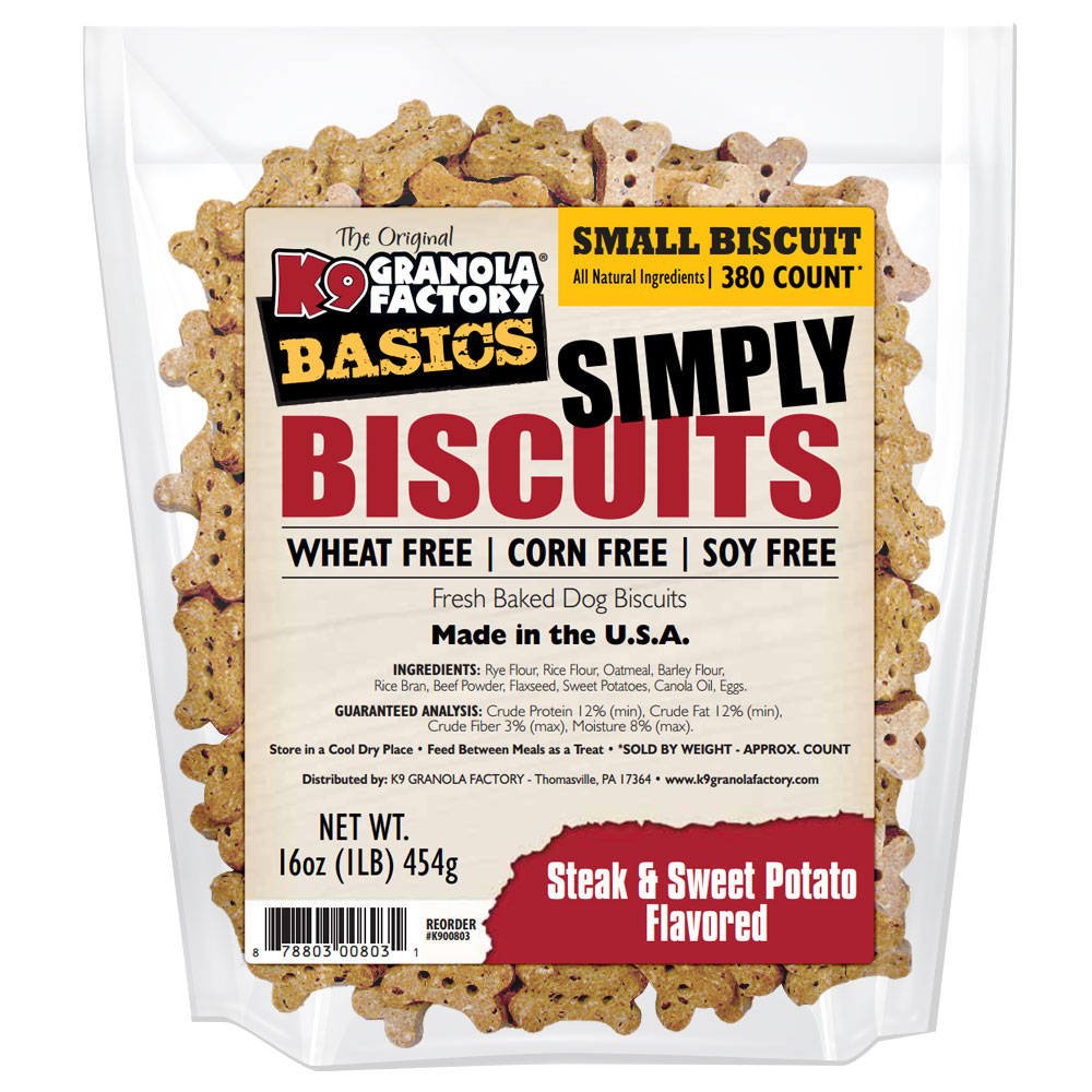 K9 Granola Factory Simply Biscuits Steak & Sweet Potatoes Dog Treats, Small, 16-oz
