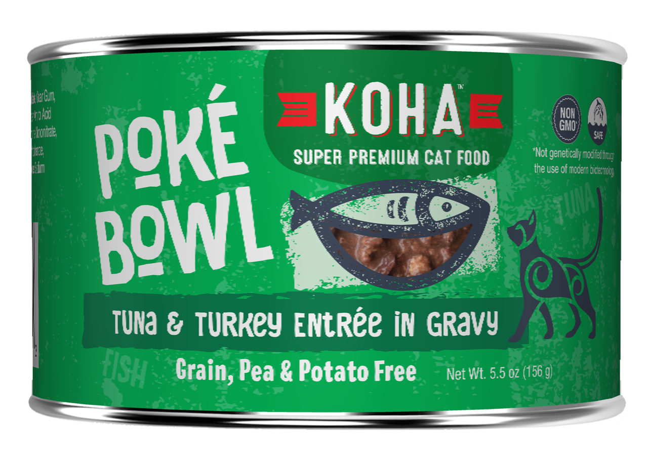 Koha Poke Bowl Tuna & Turkey Entrée in Gravy Wet Cat Food, 5.5-oz