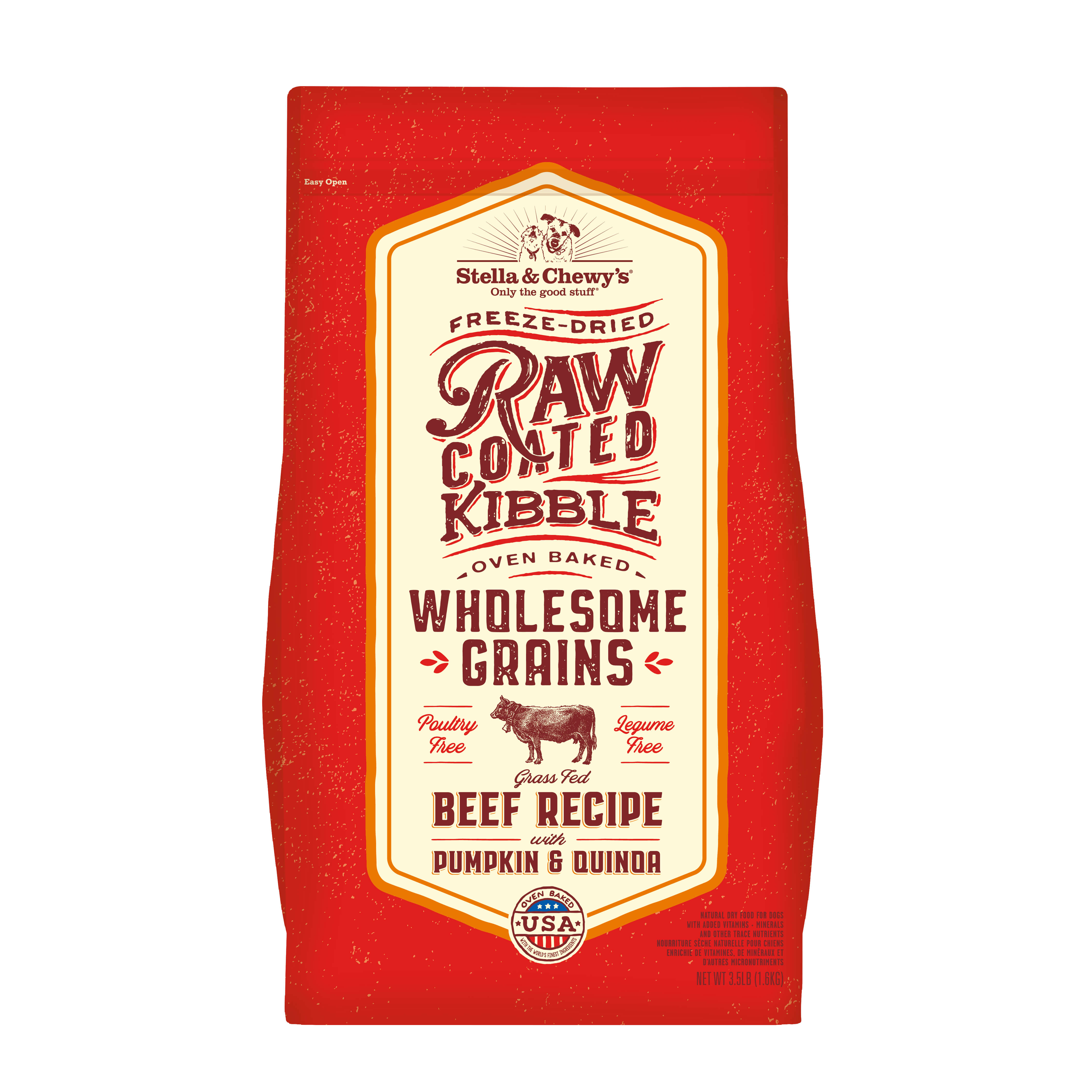 Stella & Chewy's Raw Coated Baked Kibble with Wholesome Grains Beef Recipe with Pumpkin & Quinoa Dry Dog Food, 3.5-lb