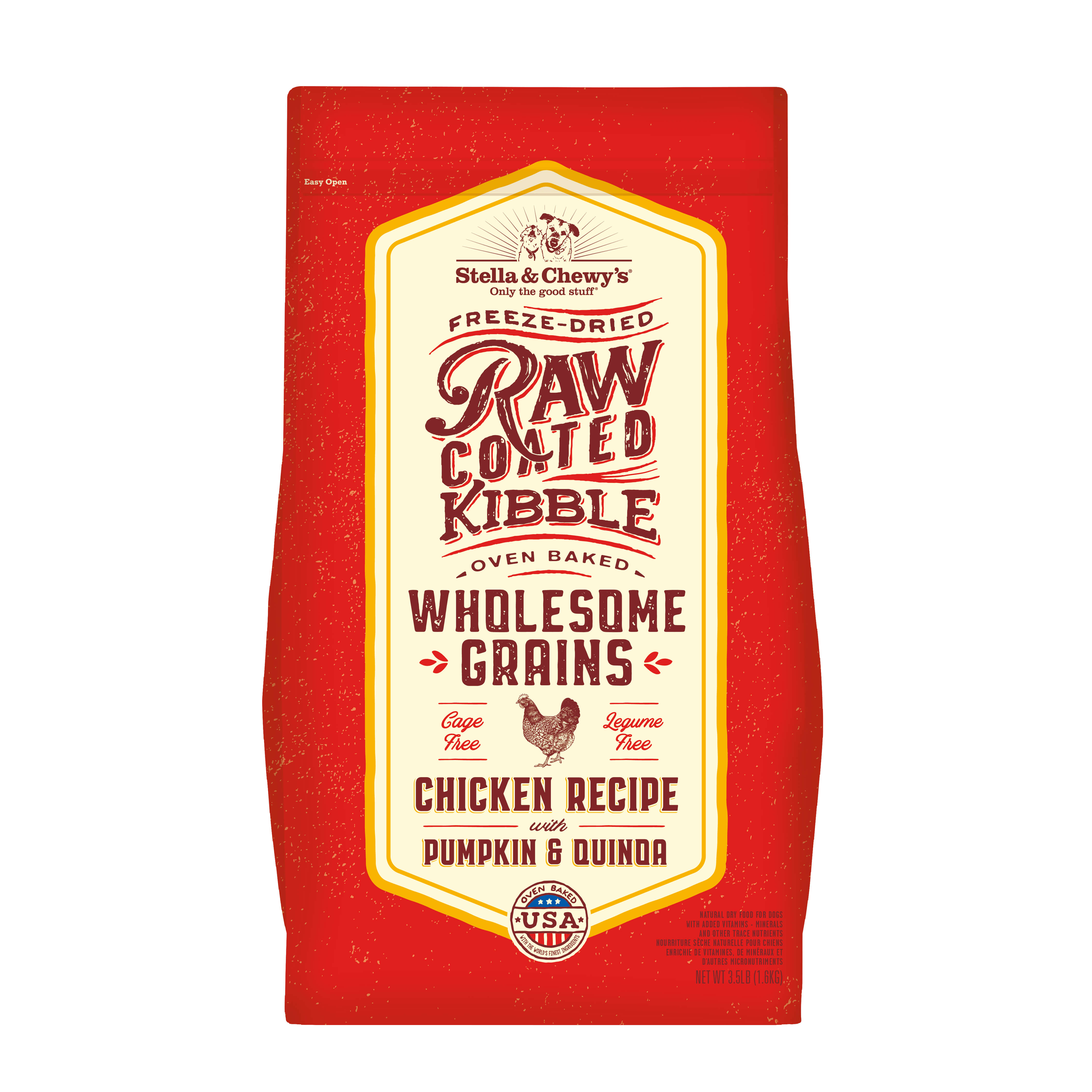 Stella & Chewy's Raw Coated Baked Kibble with Wholesome Grains Chicken Recipe with Pumpkin & Quinoa Dry Dog Food, 3.5-lb