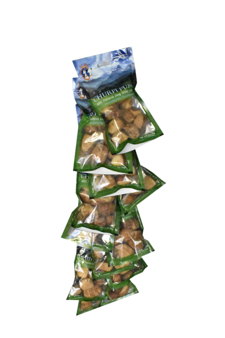 QT Dog Churpi Puffs Natural Himalayan Yak Milk Clip Strip Dog Treats, 12-count
