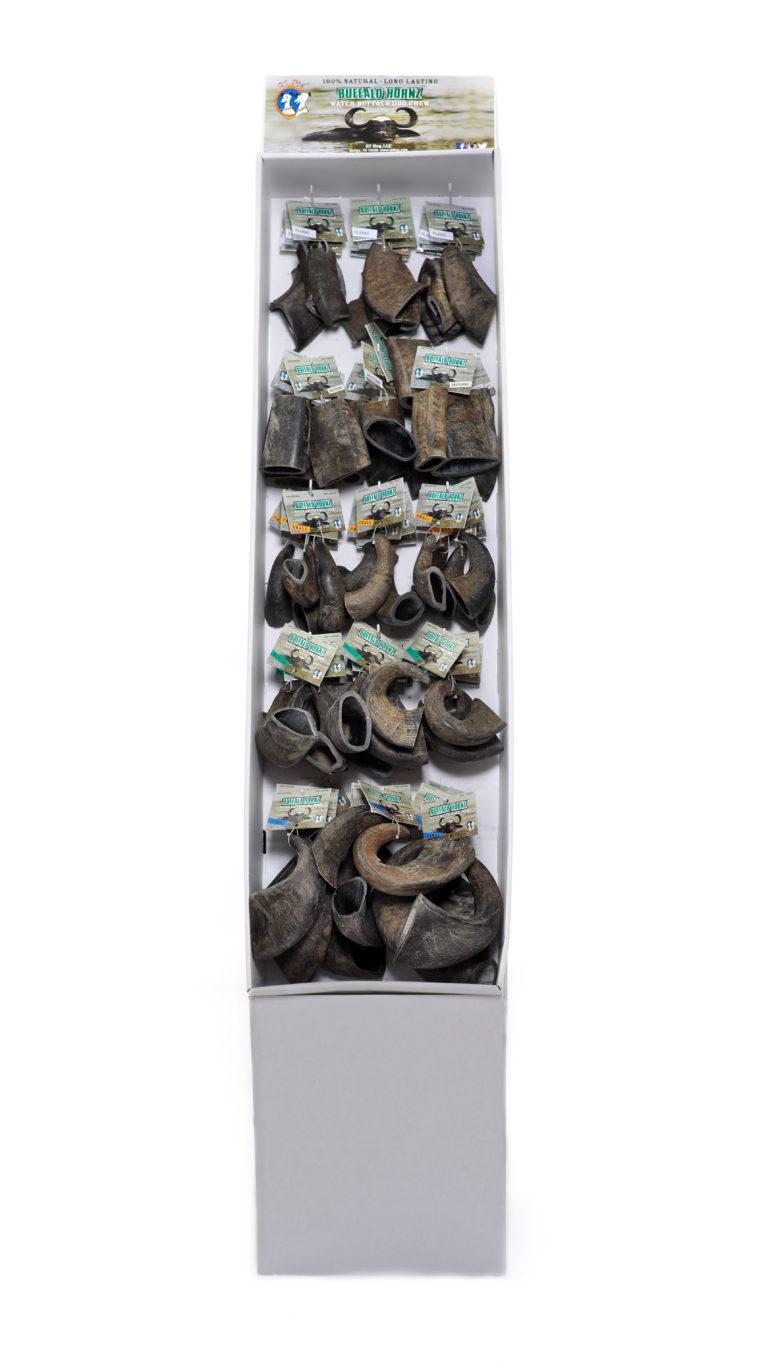 QT Dog Buffalo Hornz Water Buffalo Horn Display Box Dog Treat, 12-count per size