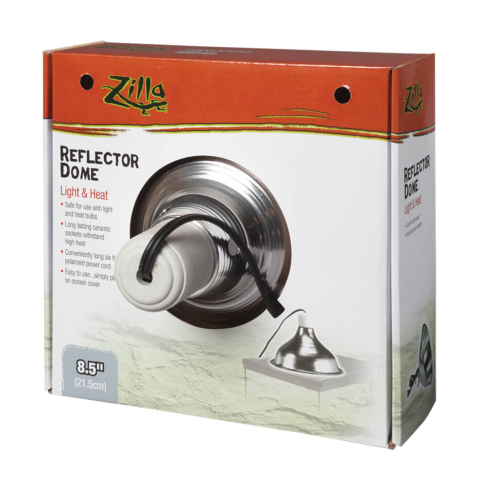 Zilla Reflector Dome Reptile Heating, Silver, 8.5-in