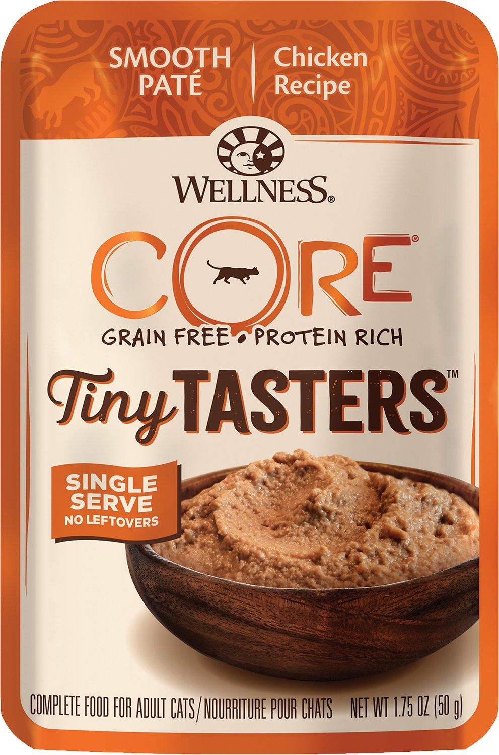 Wellness CORE Tiny Tasters Chicken Pate Grain-Free Cat Food Pouches, 1.75-oz