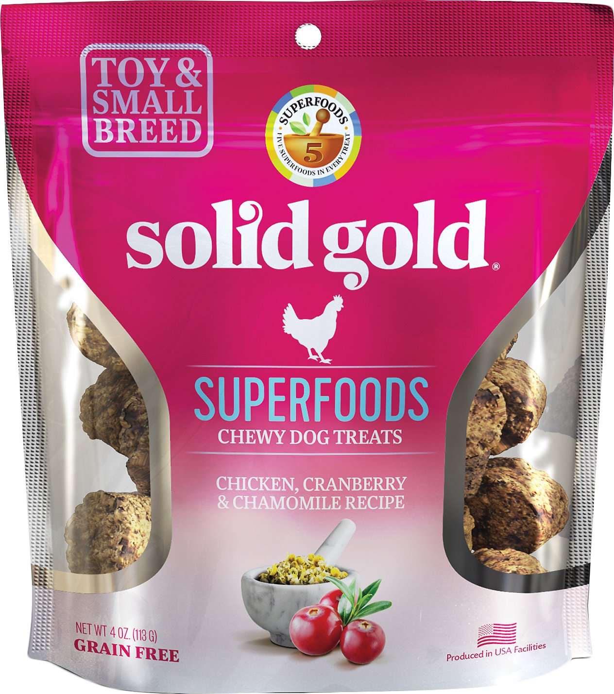 Solid Gold Superfoods Chicken, Cranberry & Chamomile Recipe Small Breed Chewy Grain-Free Dog Treats, 4-oz bag