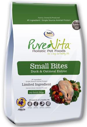 PureVita Small Bites Duck & Oatmeal Entree Grain-Free Dry Dog Food, 15-lb bag