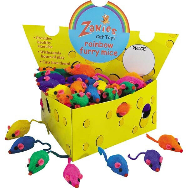 Zanies Rainbow Fury Mice Cat Toy, 60-count