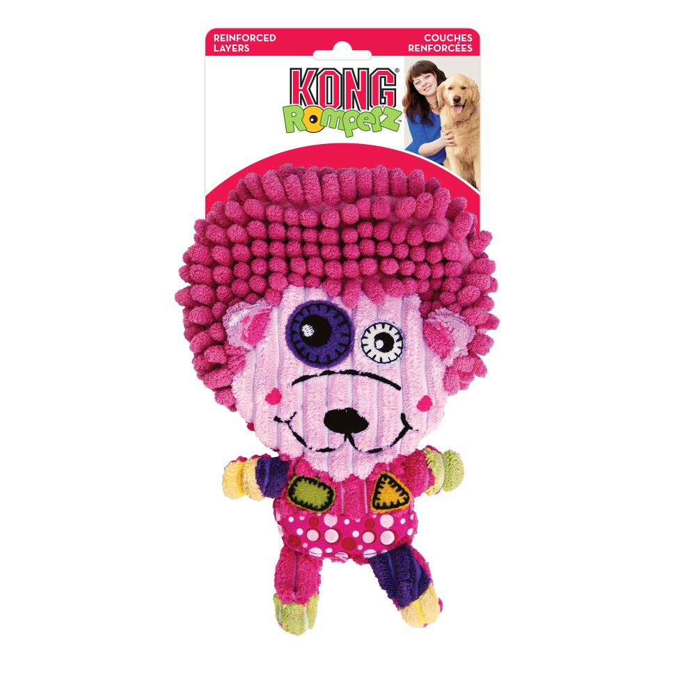 KONG Romperz Hedgehog Dog Toy, Pink, Medium