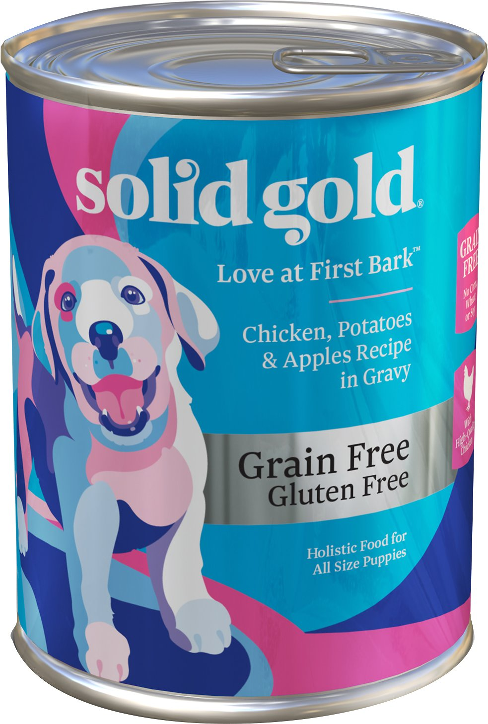 Solid Gold Love At First Bark Chicken, Potatoes & Apples Puppy Recipe Grain-Free Canned Dog Food, 13.2-oz