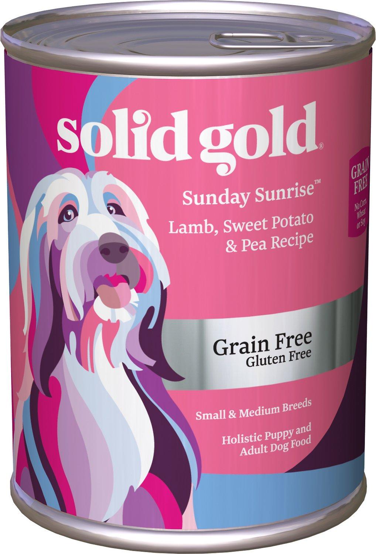 Solid Gold Sunday Sunrise Lamb, Sweet Potato & Pea Recipe Grain-Free Small & Medium Breed Canned Dog Food, 13-oz can